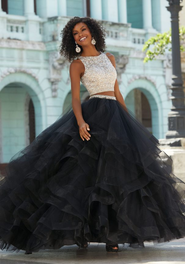 Mori Lee Two-Piece black and white Prom Dress Bmodish
