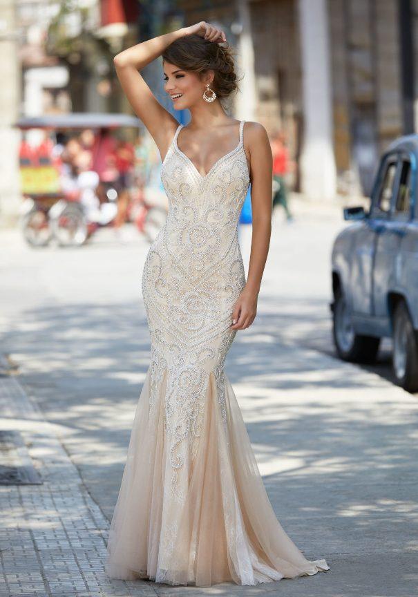 Mori Lee V-neck lace prom dress Bmodish