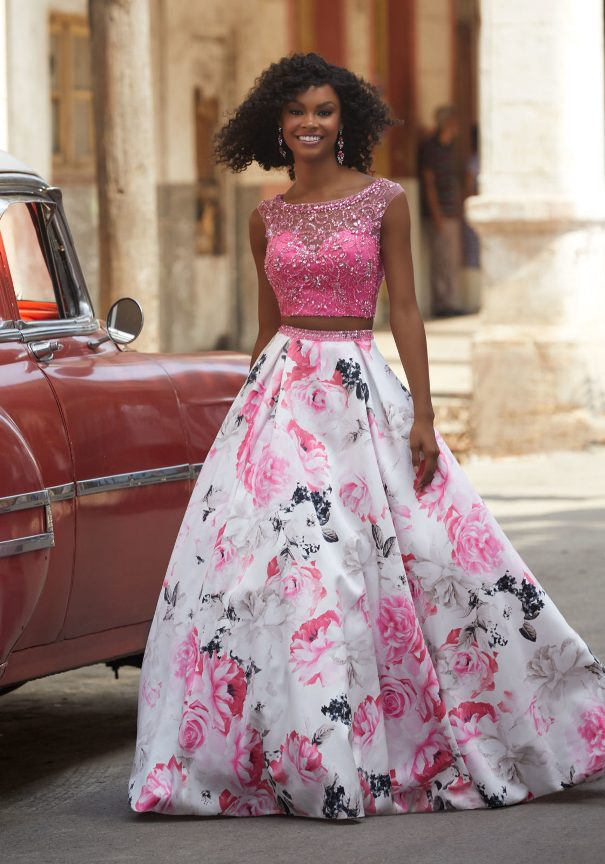 Pink Two Pieces floral prom dress mori lee bmodish