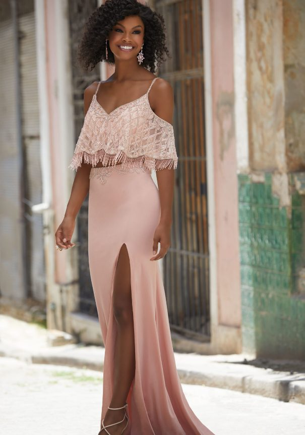Pink two pieces boho prom dress mori lee bmodish