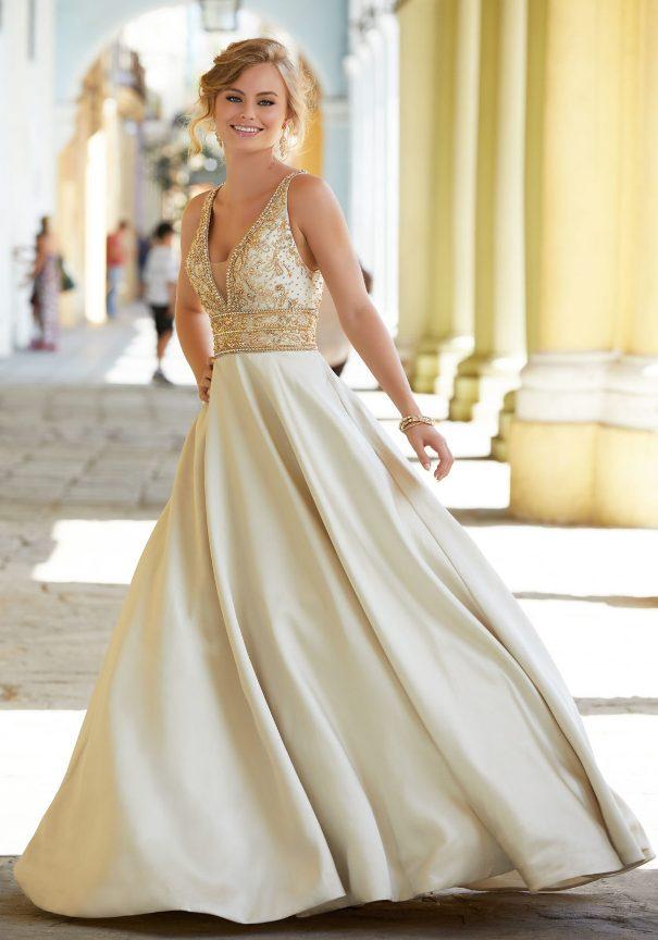Satin Mori Lee Prom dress uk bmodish
