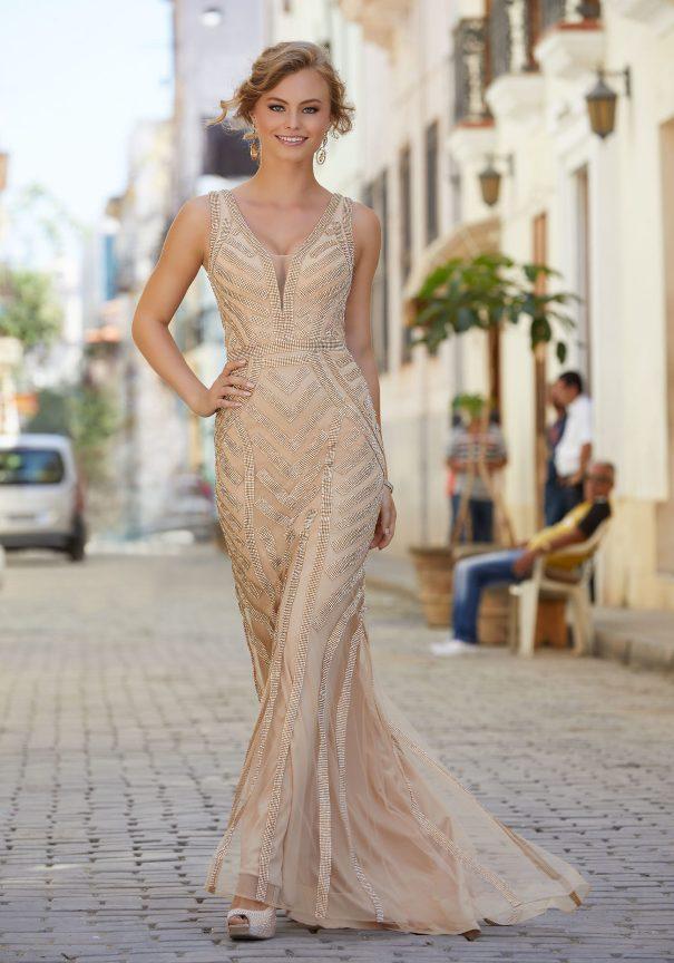 Striped Beaded Prom Dress Bmodish