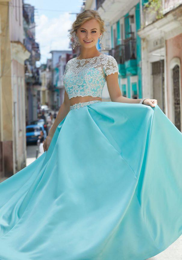 Two Piece Satin Prom Dress 2018 Bmodish