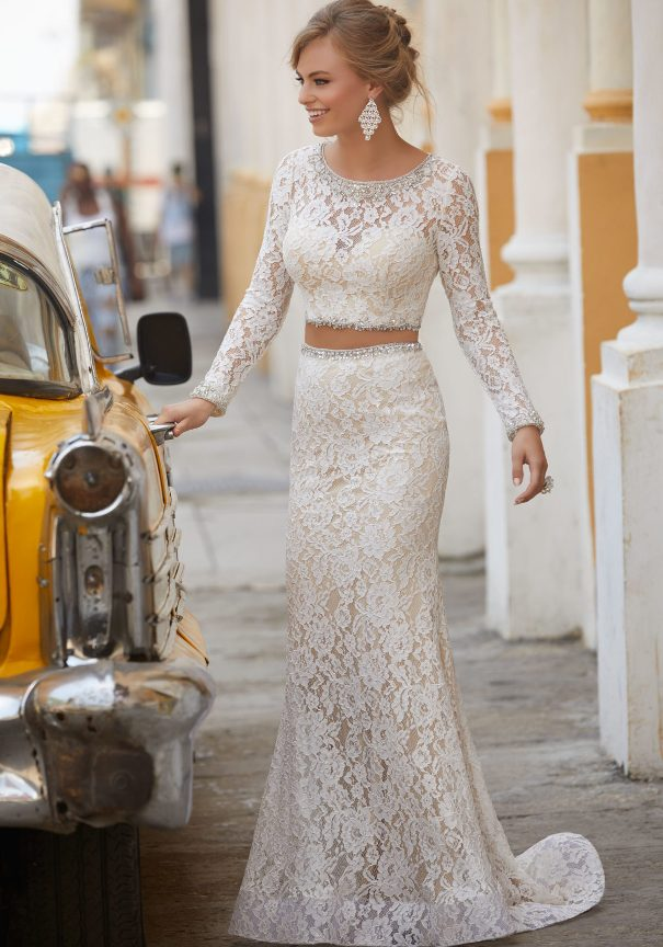 white Two Piece lace mori lee prom dress bmodish