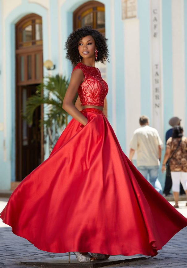 Two Pieces Red Mori Lee Prom Dress Bmodish