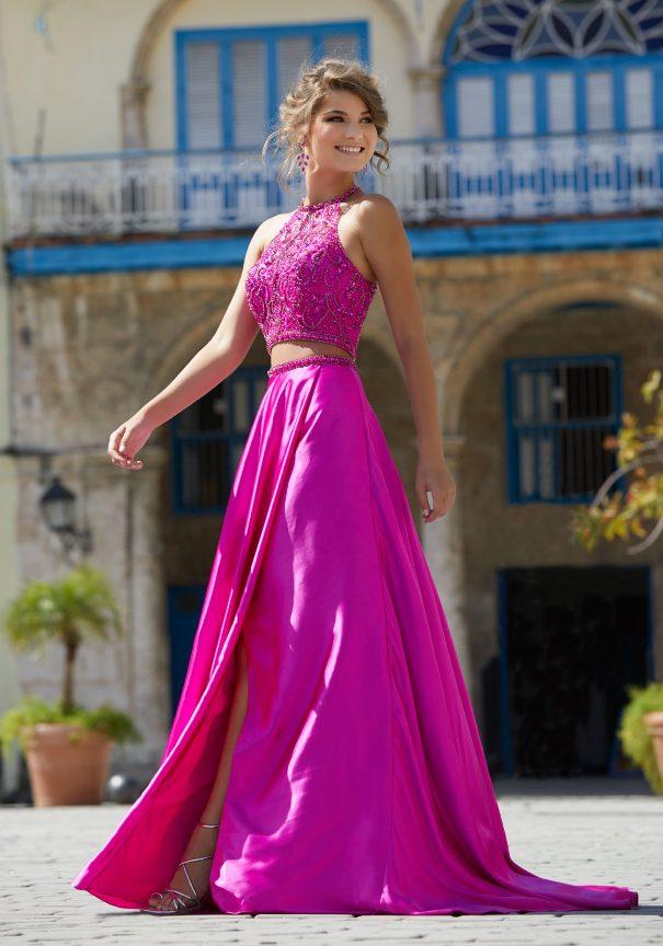 Two pieces fuchsia beaded mori lee prom dresses sale bmodish