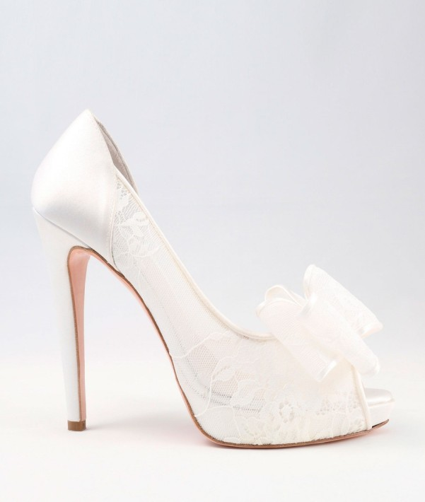 White Lace and satin Wedding Shoes with bow Alessandra Rinaudo 29 bmodish
