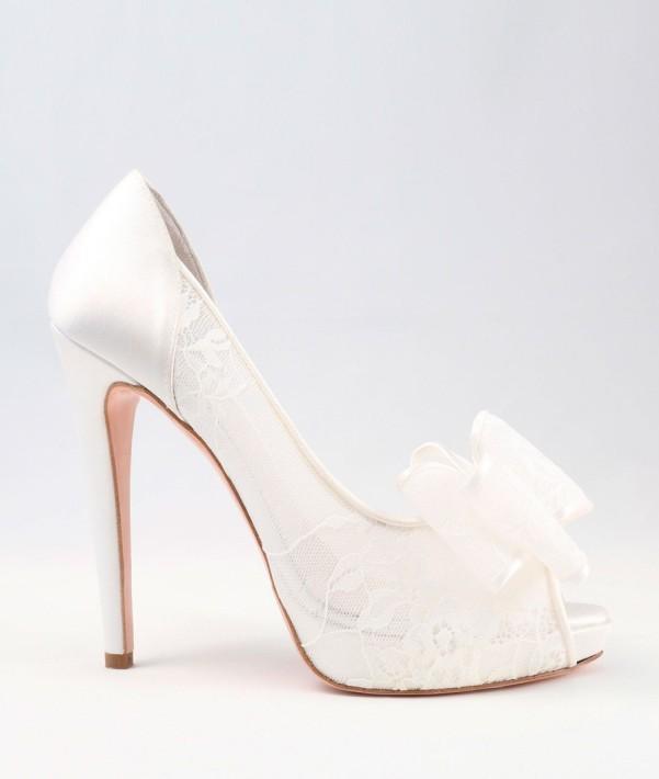 White Lace and satin Wedding Shoes with bow Alessandra Rinaudo 29 bmodish