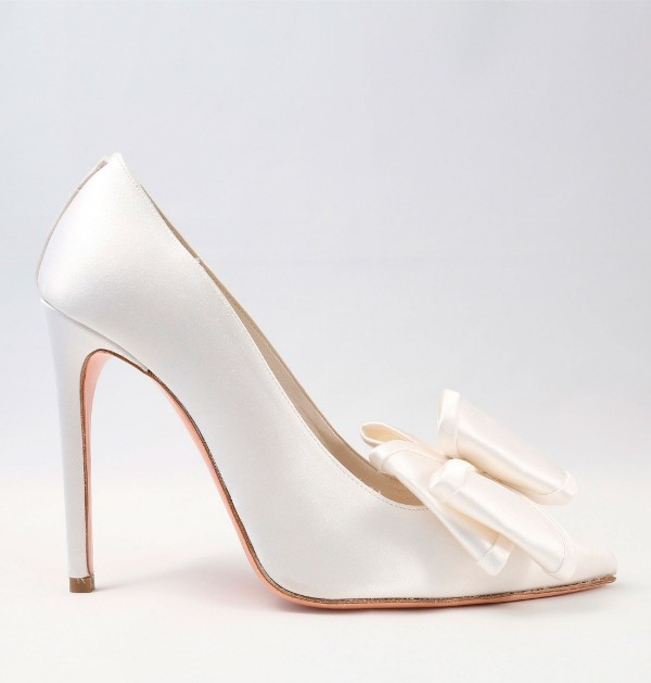 White satin Wedding Shoes with bow Alessandra Rinaudo 31 bmodish