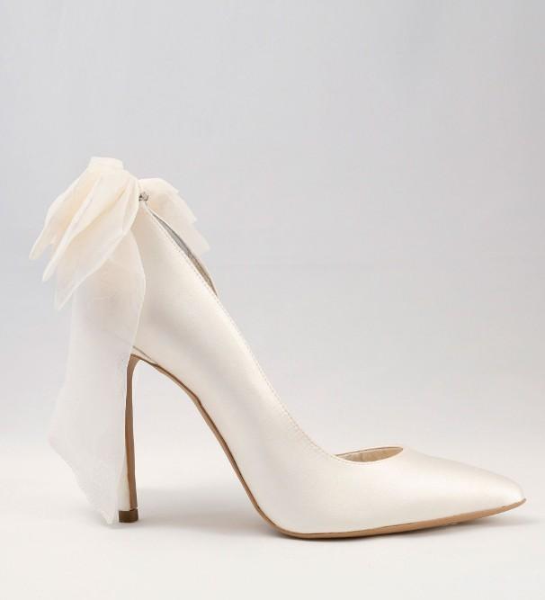 White satin Wedding Shoes with bow Alessandra Rinaudo 32 bmodish