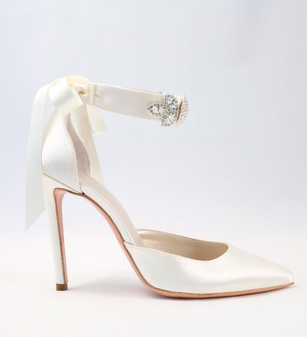White satin with ribbon bow Wedding Shoes Alessandra Rinaudo 33 bmodish