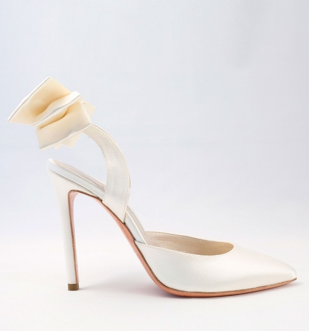 White satin with bow Wedding Shoes Alessandra Rinaudo 34 bmodish