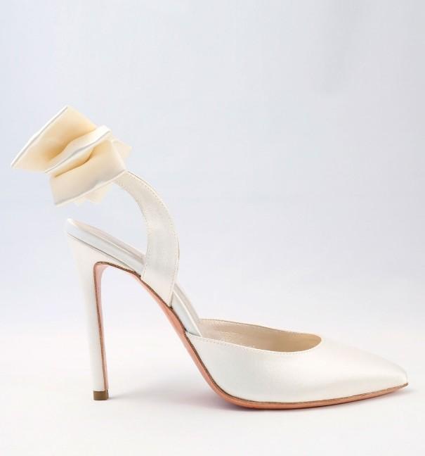 White satin with bow Wedding Shoes Alessandra Rinaudo 34 bmodish