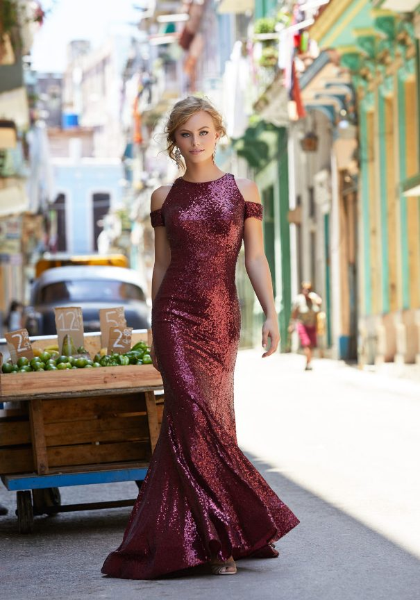 Wine Red sequin Mori Lee prom dress bmodish