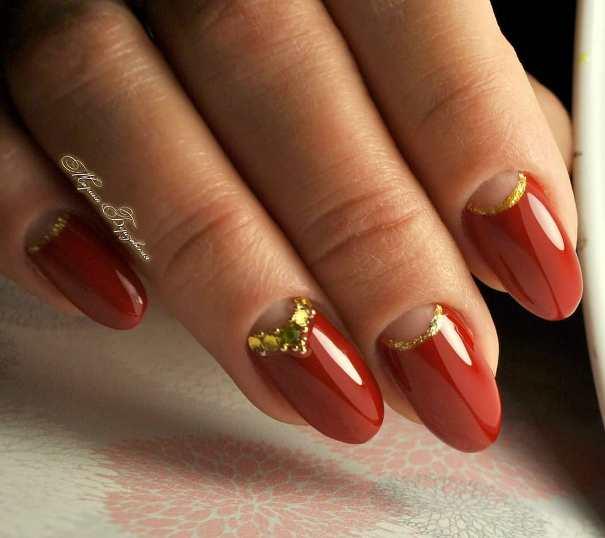 gold half moon red nail designs bmodish