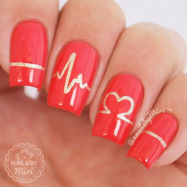 heartbeat red and gold nail design bmodish