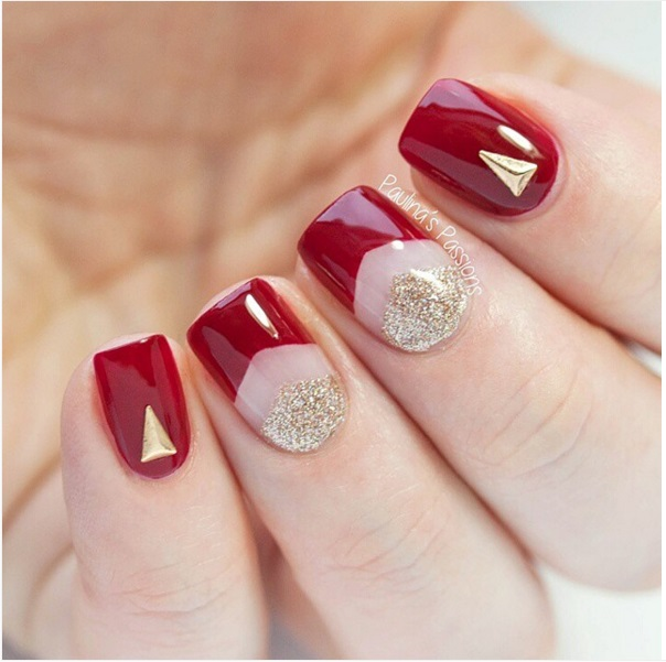 red and gold negative space nail designs bmodish