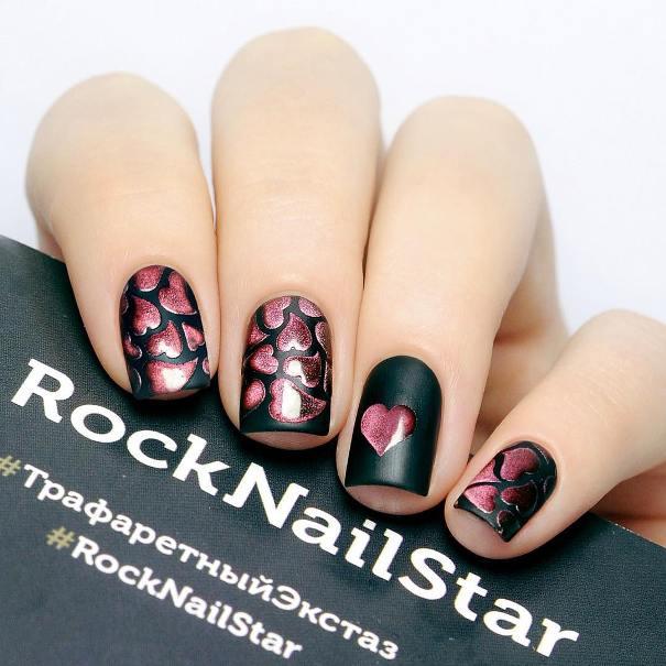 3d holo pink hearts nail design