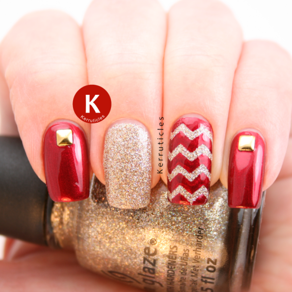 studded and chevron nail designs
