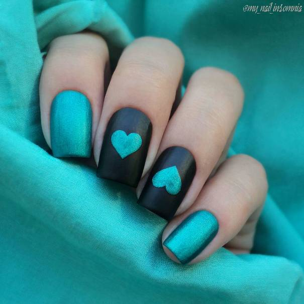 Cute Teal Blue Heart Nail designs