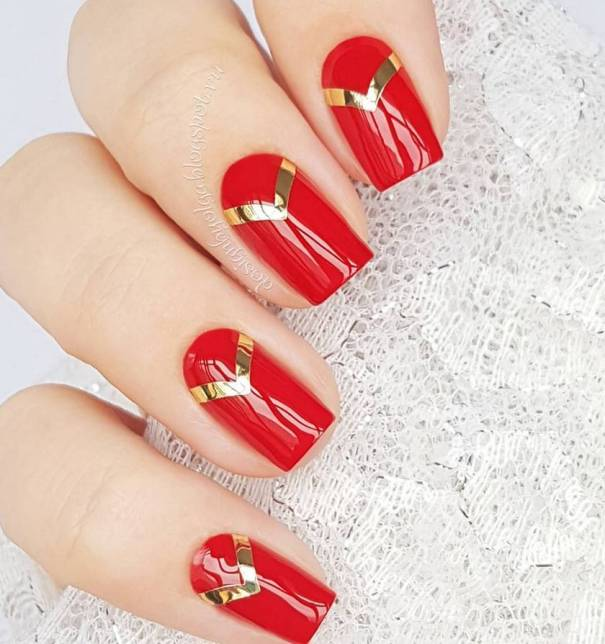 gold tape red nail designs