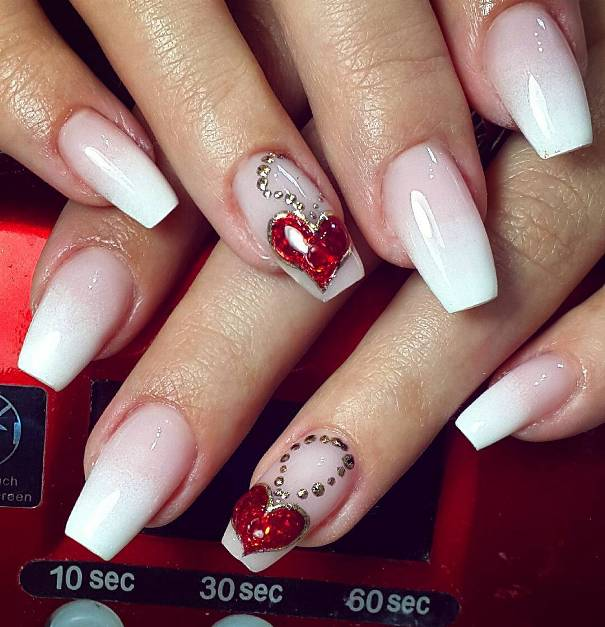 Heart Medallion Nail Design