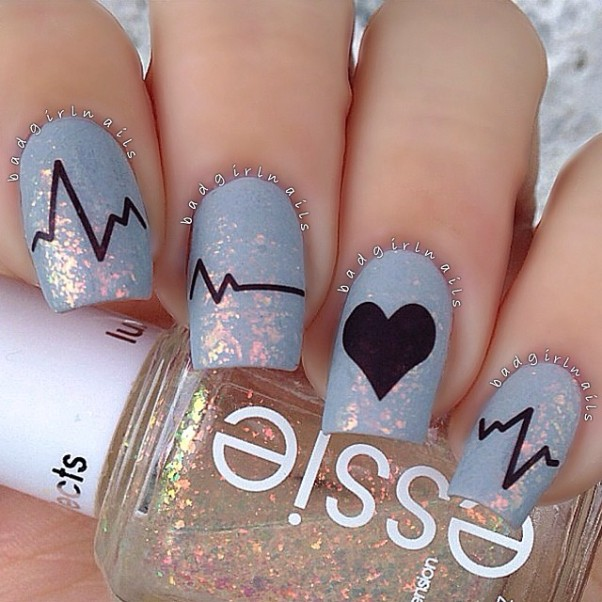 heartbeat nail designs