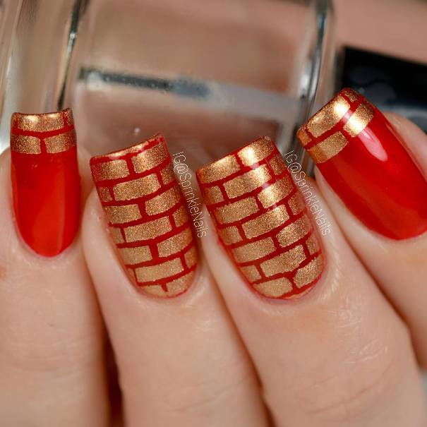 holo golden bricks nail designs red and gold