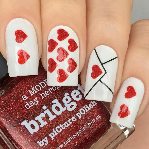 Love letter valentine's day nail designs