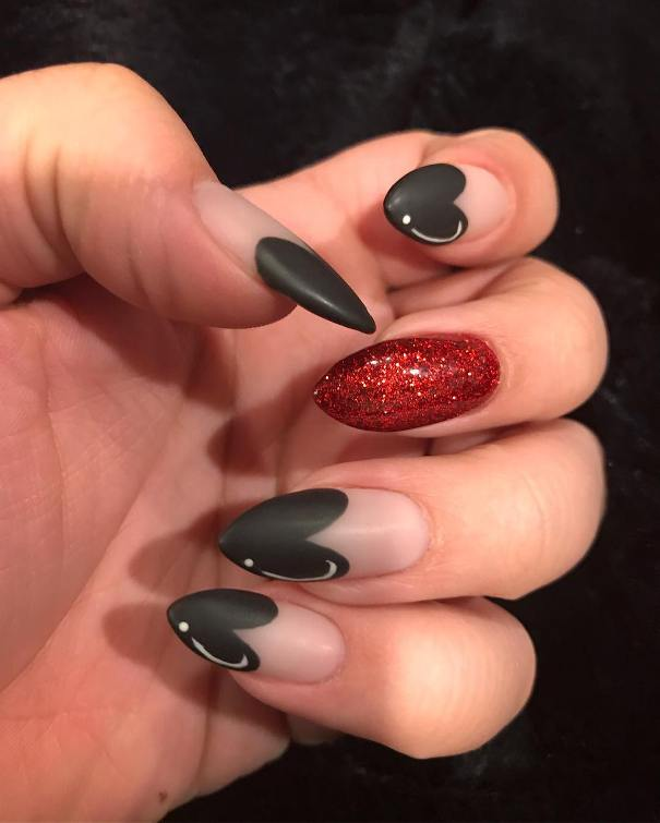 Matte Black Sweetheart Nails