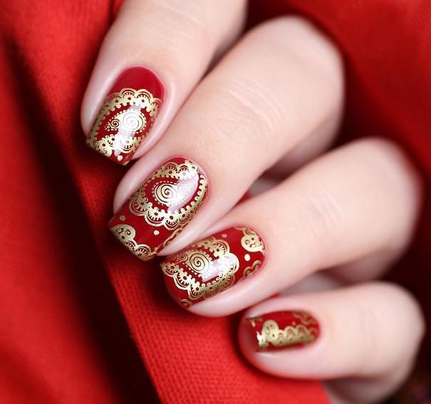 Paisley Red Gold Stamping Nail designs