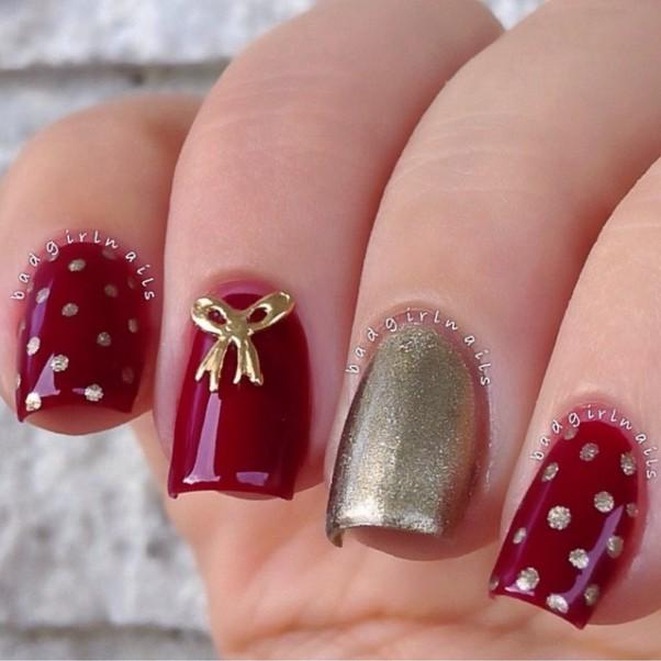 polka dots and bow nail designs