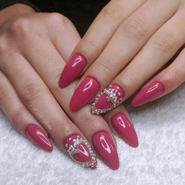 Queen of Hearts Pink Stiletto Nails