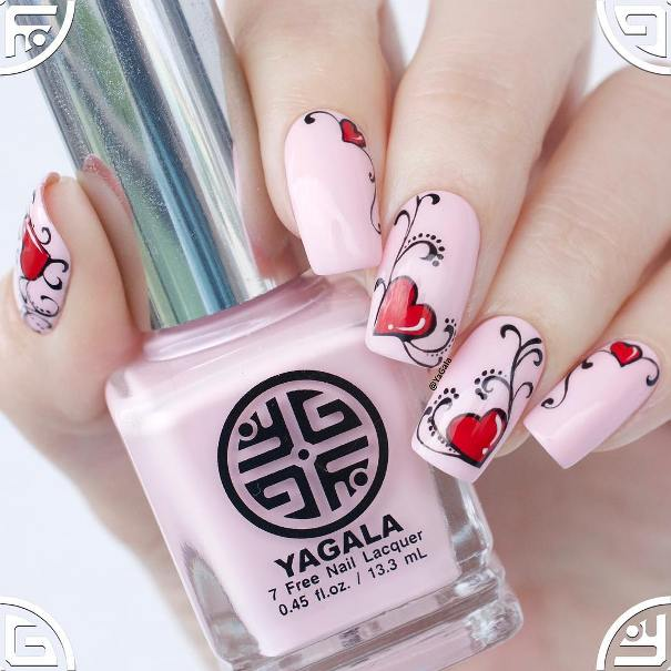 romantic pink heart valentine nail designs