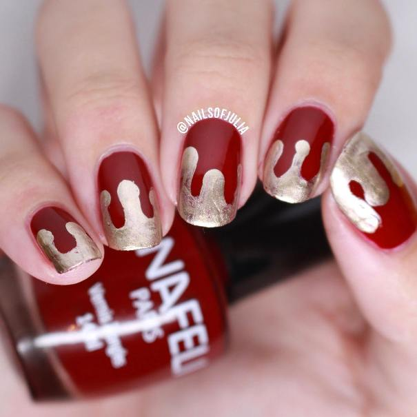 Bloody Red and Gold Halloween Nails