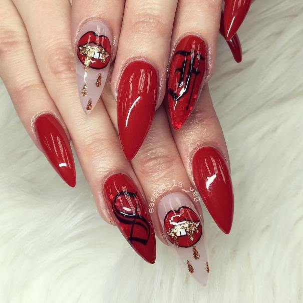 red black and gold valentines day nail designs