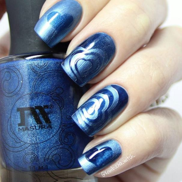 blue holo heart nail design