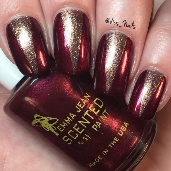 dark red and gold nail design bmodish