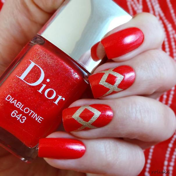 red and gold easy nail designs