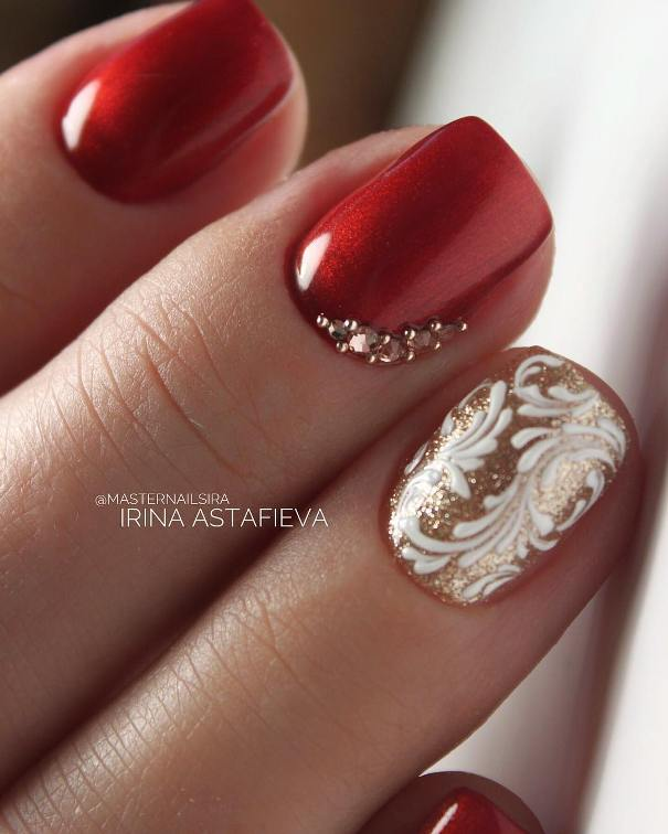 embellished red and gold glam nail designs - 50 Luminous Red And Gold Nail Designs ❤ 💅💛 - Be Modish