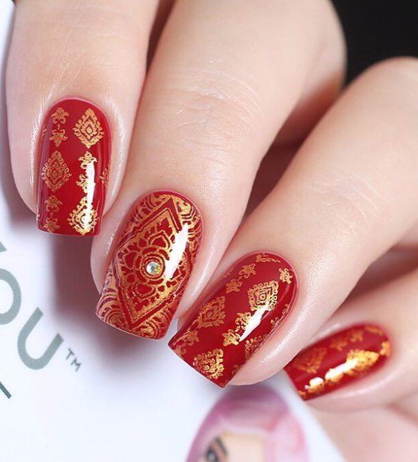 elegant red gold stamping nail designs