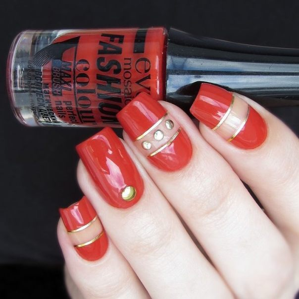 red and gold negative space nail designs