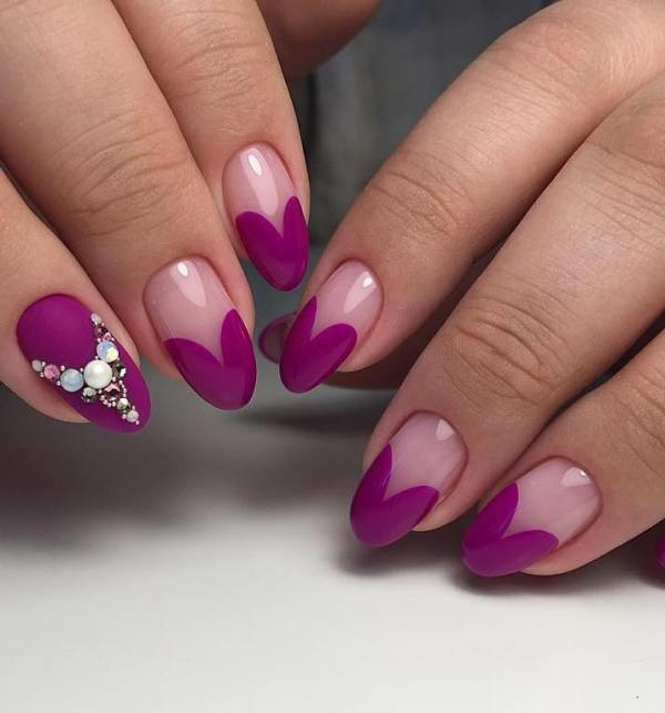 purple almond shape heart nail designs