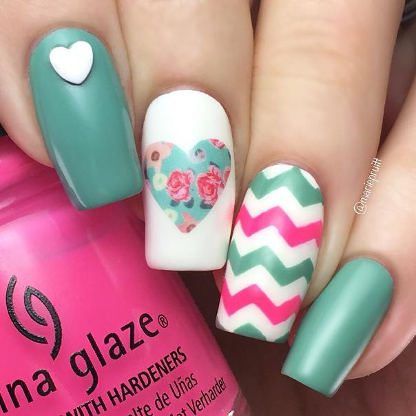 Chevron and Flower Heart Spring Nail Art