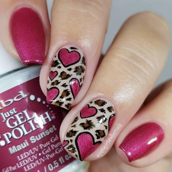 Glitter Pink Heart Leopard Nail Art