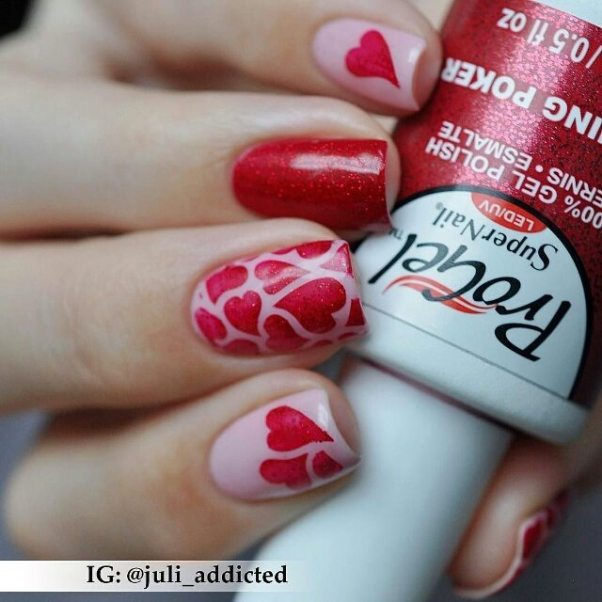glitter red heart nail art