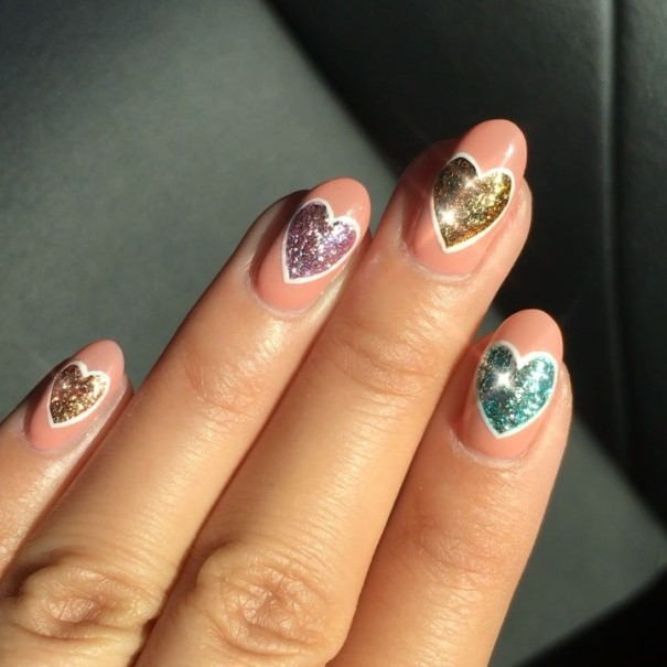 colorful glitter heart nail design valentines day nails