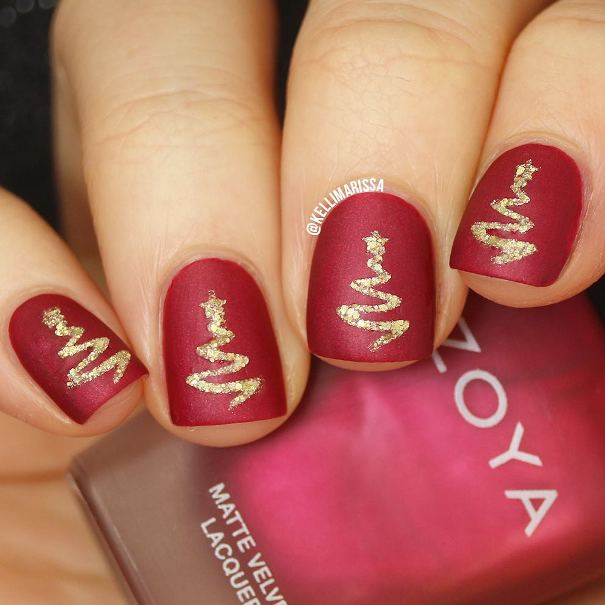 Easy Red And Gold Nail Designs Pics Download