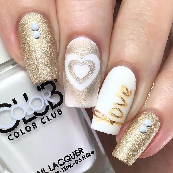 gold heart nail design bmodish