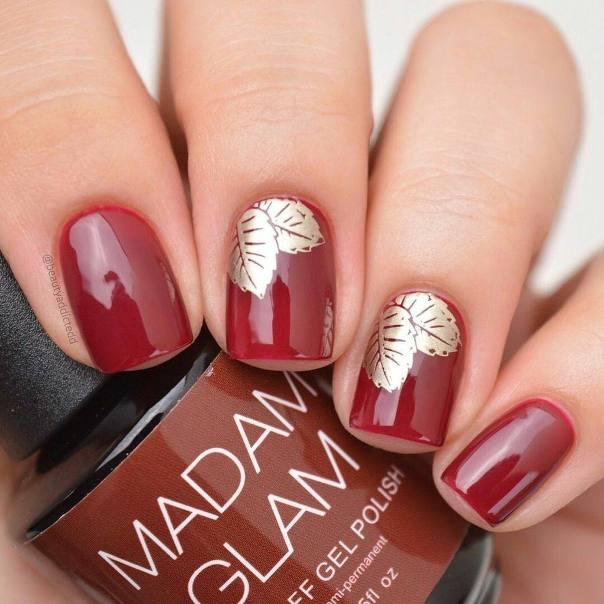 gold leaves fall red nail designs bmodish